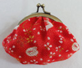Chirimen (C-71-AG) coin purse with BK-772 purse frame